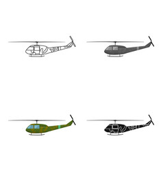 Military helicopter icon in cartoon style isolated vector