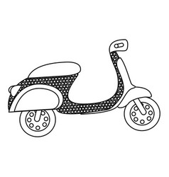 Monochrome silhouette of scooter with dotted vector