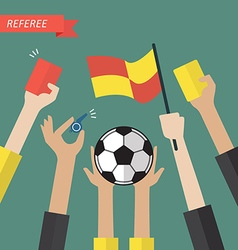 Referee hand holding a soccer icons vector image