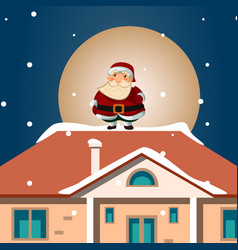 santa hold gift on snowy roof vector image