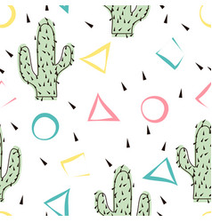 seamless abstract modern cactus pattern on white vector image vector image