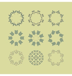 Set floral elements linear style line art vector