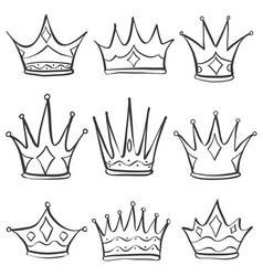 Sketch crown doodle set hand draw vector