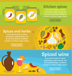 Spices cooking banner horizontal set flat style vector