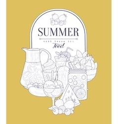 Summer food vintage sketch vector