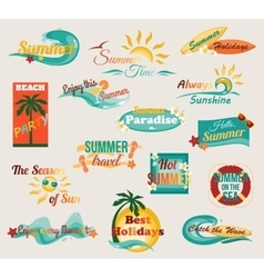 Summer typographical elements for design Retro vector image vector image