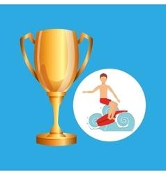 Surfer riding wave trophy sport design vector