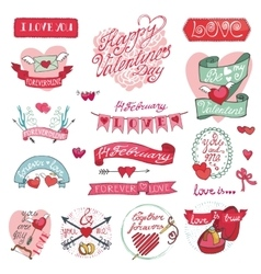 Valentines day designlabels icons elements vector image vector image