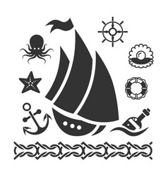 vintage marine icons set with ship starfish anchor vector image