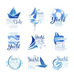 yacht club since 1969 logo original design set vector image vector image