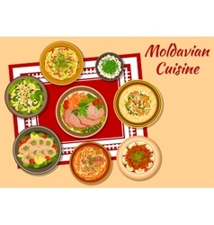 Moldavian cuisine tasty dinner icon vector