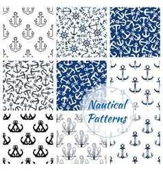 Nautical seamless pattern of navy anchor helm vector