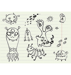 Collection of Cartoon Doodle Monsters 5 vector image