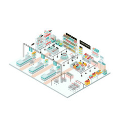 Supermarket interior grocery store colorful vector