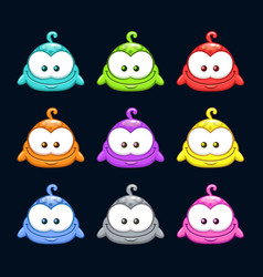 Cute cartoon colorful little blob characters set vector