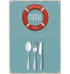 Retro menu design for seafood restaurant vector