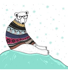 Christmas card with cute hipster polar bear vector
