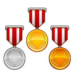 Military medals with laurel vector