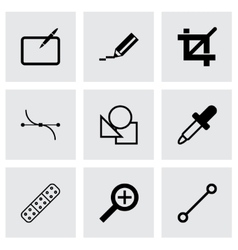 Black graphic design icons set vector