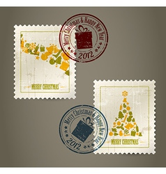 Collection of vintage postage stamps vector