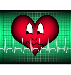 Heart suspicious on green with cardio line vector