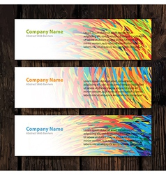 Web banners colorful wooden backdrop vector