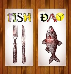 Vertical banners fish day in ristorane vector