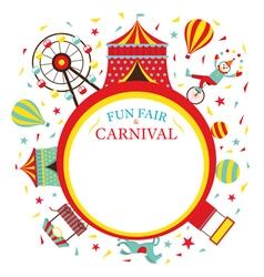 Fun fair carnival circus round frame vector