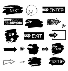 Set of handdrawn arrows and spots on white vector image