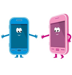 Two phones pink and blue vector