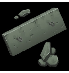 Concrete slab and rocks on black background vector image