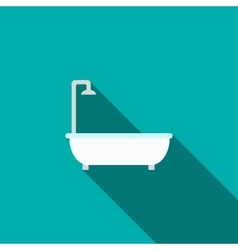 Bath with shower icon flat style vector