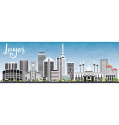 Lagos skyline with gray buildings and blue sky vector