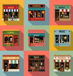 Restaurant shopfront icon set vector