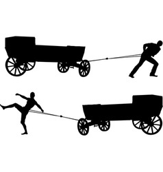 ancient cart and man vector image vector image