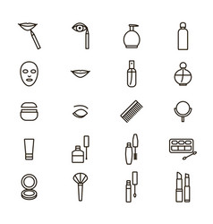 beautiful female make up signs thin line icon set vector image