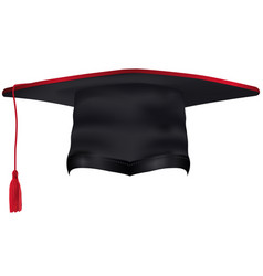 Black graduation cap with red tassel isolated vector