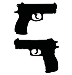 Black silhouettes of handguns vector