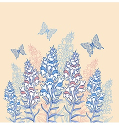 blue and pink wildflowers vector image