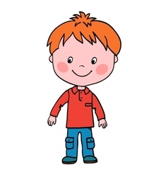 Boy stands and looks in the lower right corner vector image vector image