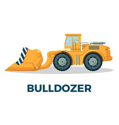 bulldozer crawler tracked tractor equipped with vector image vector image