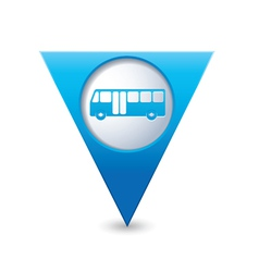 bus icon map pointer blue vector image vector image