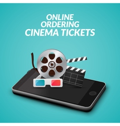 Cinema movie ticket online order concept mobile vector
