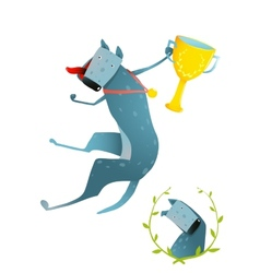 Competition winning red happy dog jumping with cup vector