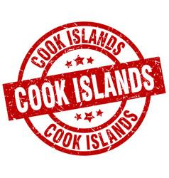 Cook islands red round grunge stamp vector