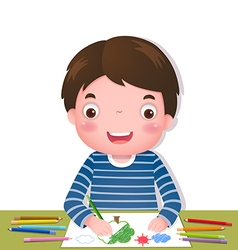 Cute boy drawing with colorful pencils vector