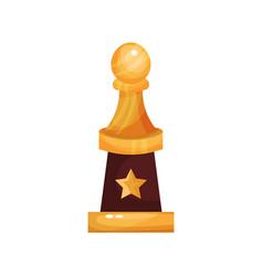 golden golf award trophy with ball cartoon vector image vector image