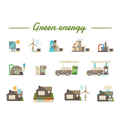 green energy flat icons vector image