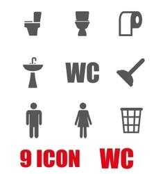 Grey toilet icon set vector