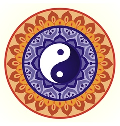 Lotus Yin Yang Design vector image